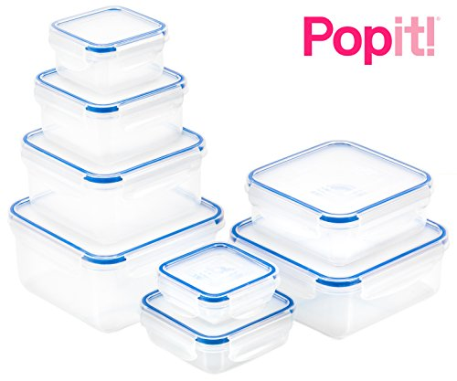 Popit Food Storage Containers 16 Piece Set, 100 Leak Proof - Microwave, Freezer and Dishwasher Safe - Little Big Box, by Popit (Containers Refrigerator Storage)