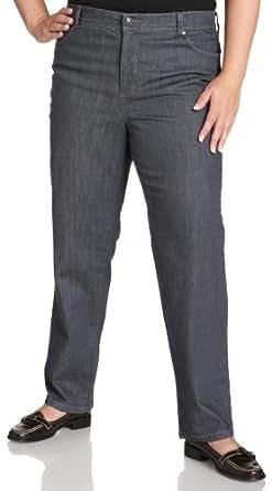 Gloria Vanderbilt Women's Plus 5 Pocket Amanda Jean, Silverlake, 16W
