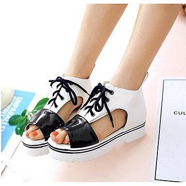 Donne 039 s sandali Comfort PU Estate informale comfort arancione luce nero rosa bianco FlatWhiteUS4-4,5 EU34 REGNO UNITO2-2,5 CN33