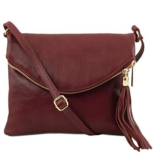 Tuscany Leather TL Young Bag Sac bandoulière avec pompon Taupe foncé Bordeaux