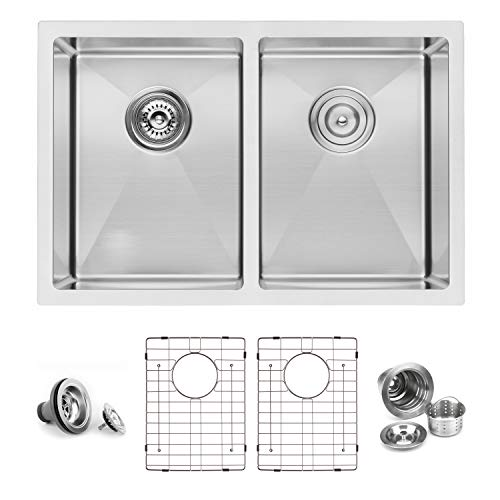 BAI 1224 Stainless Steel 16 Gauge Kitchen Sink Handmade 27-inch Undermount Double Bowl