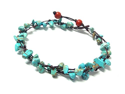 Blue Turquoise Color Bead Anklet – Beautiful 10 Inches Handmade Stone Anklet – Fashion Jewelry for Women