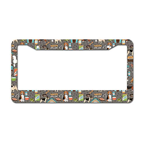 DKISEE Abstract Paw Print Background License Plate Frame Aluminum Car License Plate Covers with 2 Holes 12