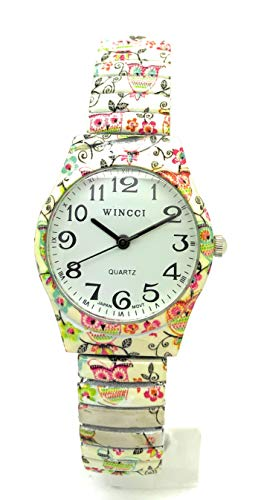 Ladies 27mm Novelty Floral Flower Elegant Stretch Elastic Band Fashion Watch Wincci (Style 7)