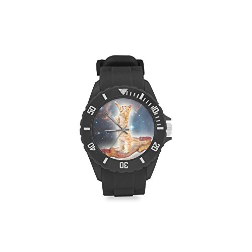 Special Design Funny Cat on Bacon in Outer Space Pattern Design Custom Kids' Round Rubber Sport Watch by Space Cat Watch