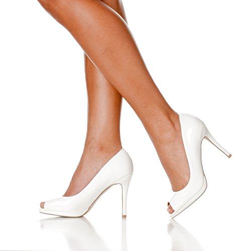 Slight Julia Riverberry Toe Open Pumps High Women's Platform Patent Heel White 6ZqxAn