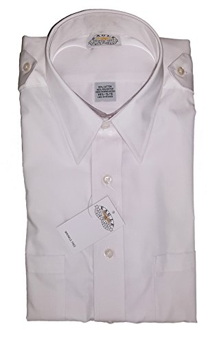 Eagle Shirtmakers Mens Hem Pocket Aviator Style Short Sleeve Shirt, White (16.5) (Eagle Pilot)