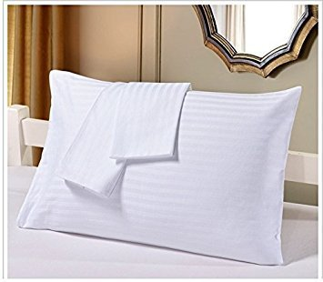 JHD Egyptian Cotton Set of 2 Travel Pillow Cases 14X20 White Striped 500 Thread Count Zipper Closer with 100% Egyptian Cotton
