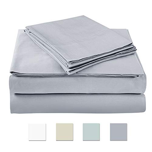 AXIA 500 Thread Count 100% cotton Sheet Set, Grey Queen Sheet Set, 4-piece Long Staple Combed Pure Cotton best sheets for bed, Breathable, Soft & Silky Sateen Weave Fits Mattress ()