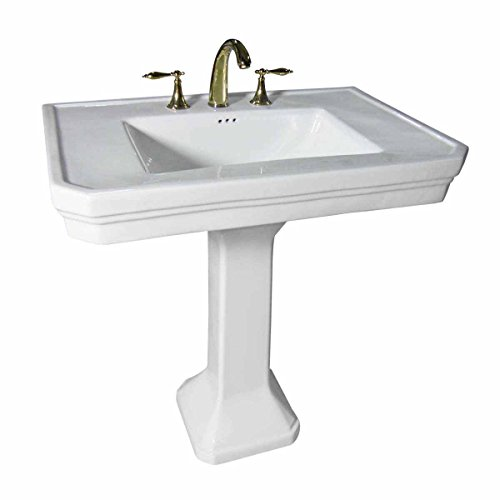 """Pedestal Sink Large Grade A White Vitreous China """"Victoria Classic"""" 8"""" Widespread Faucet Overflow Hole Open-Back Pedestal"""