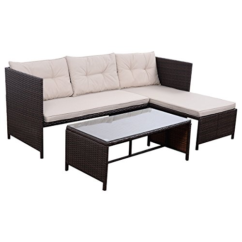 Tangkula 3 PCS Outdoor Rattan Furniture Sofa Set Lounge Chaise Cushioned Patio Garden by Tangkula