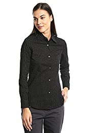 Dockers Camisa Tailored Stretch Shirt Floral Fig Print Camisa para Mujer