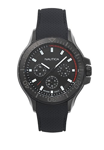 31e4154d8bb7 Nautica Men s Auckland Stainless Steel Japanese-Quartz Watch with Silicone  Strap