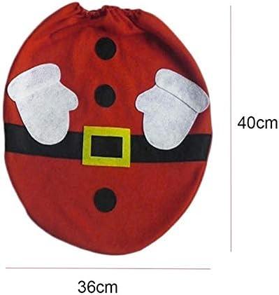 Lispeed Weihnachts-WC-Abdeckung Toilettensitzbezug Weihnachtsdeko WC-Sitze Set mit Sitzbezug Tank Teppich Gewebe Deckel f/ür Badezimmer im Weihnachtsmann-Design