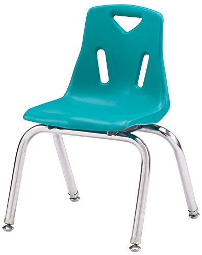 "Berries 8144JC1005 Stacking Chair with Chrome-Plated Legs, 14"" Height, Teal"
