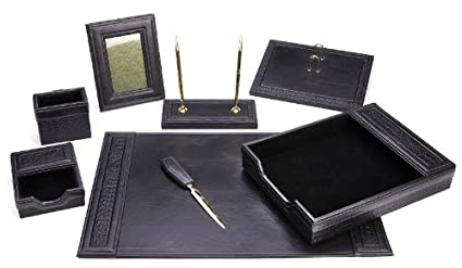 Majestic Goods Office Supply Leather Desk Set, Black (W934)