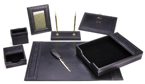 Majestic Goods Office Supply Leather Desk Set Black W934