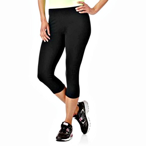Danskin Now Women's Cotton Spandex Capri Fitness Leggings Black Soot XX-Large