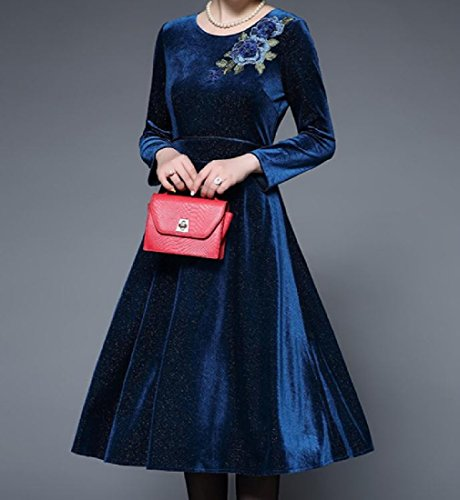 Velvet Long Neck Stylish Party Dress Comfy Blue Sleeve Crew Women's Embroidered qAxwEO1
