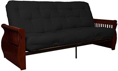 Laguna 8-Inch Loft Inner Spring Futon Sofa Sleeper Bed, Queen-size, Mahogany Arm Finish, Twill Black Upholstery Review
