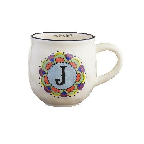 Natural Life MUG192 Mug, Initial J, White