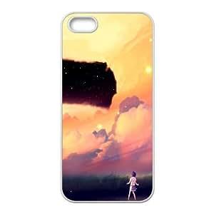 Akio Bako Anime Sunset Girl Clouds 103086 funda iPhone 5 5s caja funda del teléfono celular del teléfono celular blanco cubierta de la caja funda EVAXLKNBC31718