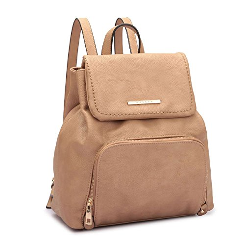 MKY Women College Leather Drawstring Backpack Casual Shoulder Bag Front Pocket Daypack Beige by MKY