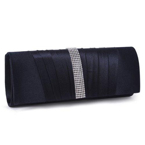 Damara Womens Pleated Satin Crystal Fashion Clutch Evening Bag, Navy Blue