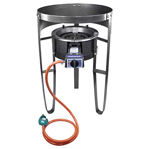 Vulcanus V-L01 Low Pressure Cast Iron Burner. 1-L Single Burner Stand with Wind Screen.