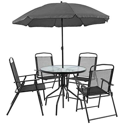 Flash Furniture Nantucket 6 Piece Black Patio Garden Set with Table, Umbrella and 4 Folding Chairs (Pool Furniture Patio)
