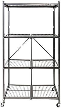 Origami Foldable 4-Shelf Storage Rack with Wheels