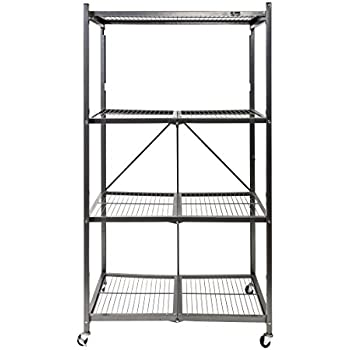 Origami General Purpose Foldable 4-Shelf Storage Rack with Wheels, Large
