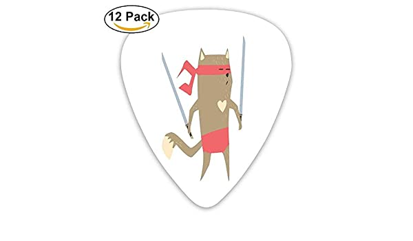 Crime Fighter Ninja Cat con dos espadas y corazón Dibujos animados Superpoder Animal Fighter Guitar Picks 12 / Pack: Amazon.es: Instrumentos musicales