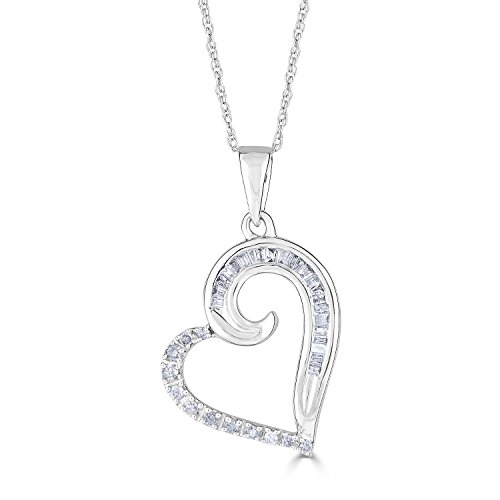 Baguette Heart Necklace - Diamond Heart Necklace in Rhodium Plated 10k White Gold 1/5 cttw
