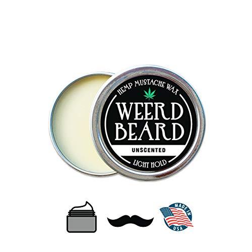 Unscented Mustache Wax by Weerd Beerd – Hemp Based Wax, Fragrance Free – 0.5oz tin