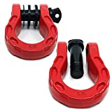 "GearAmerica Mega Duty D Ring Shackles Red (2PK) | 68000 lbs (34 Ton) Tested Strength | 3/4"" Shackle + 7/8 Pin + Washers