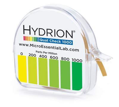 QC-1001 - Description : Quat Test Papers Dispenser, 0-1000 ppm - Hydrion Quat Test Papers, Micro Essential Laboratory - Case of 10 (1l)