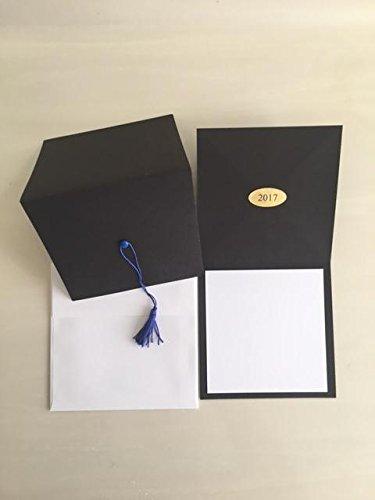 2017-Black cap graduation invitation-royal blue tassel-blank printable insert-25 count with (Photo Graduation Announcements)