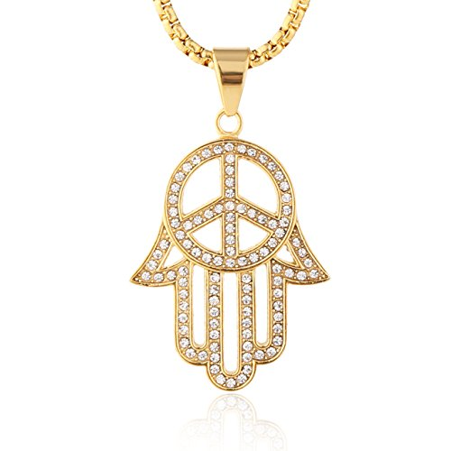 HZMAN Iced Out Cross Cz Inlay Stainless Steel Egyptian Eye Fatima Hamsa Hand Pendant Necklace Success and Protection Lucky (Peace Sign Symbol)