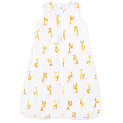 aden by aden + anais Classic Sleeping Bag, 100% Cotton Muslin, Wearable Baby Blanket, Safari Babes, Giraffe, Large, 12-18 Months - Little Giraffe Muslin
