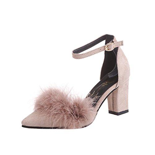 PENATE Women Fashion Heeled Sandals Summer Slim High Heel Plush Pointed Toe Party Wedding Wedge Shoes (5.5 B(M) US, Khaki)