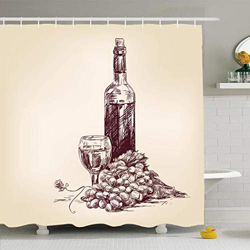 Ahawoso Shower Curtain 66x72 Inches Rags Sketch Grapes Bottle Wine Glass Food Drink Sweet Vintage Old Alcohol Juice Fruit Plant Design Lot Waterproof Polyester Fabric Set with Hooks