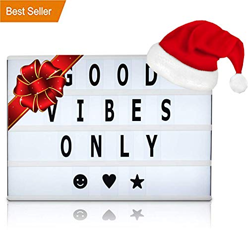 Battery and USB Cable Powered Cinematic Light Box, LED Light Box, Cinema Light Box, Letter Light Box with 200 Letters, LED Lights and USB Cable - 200 pc tiles, Size 16.5 x 11.4 x 2