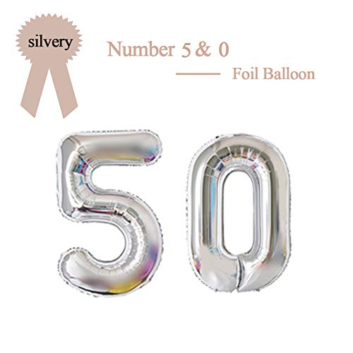 40 Inch Silver 50 Number Foil Balloon 50th Birthday Party Supplies Anniversary Events Graduation Decorations (For 50th Balloons)