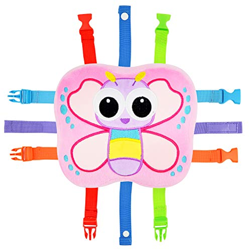 Toddler Early Learning Toy with Buckles, Self Adhesive Tape, Crinkle Paper and Numbers, Kids Cartoon Travel Toy, Preschool Toy for Developing Fine Motor Skills, Ideal Gift for Baby Girls (Butterfly)