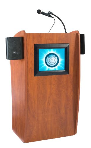 Oklahoma Sound 612S-CH The Vision Sound Lectern with Screen, Cherry -
