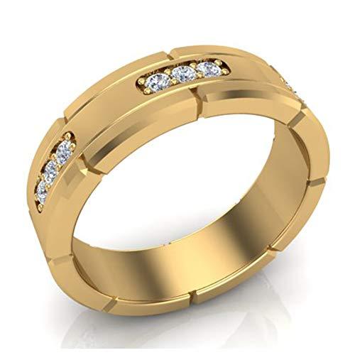 Men's Diamond Wedding Band Semi-Eternity Wedding Ring 14K Yellow Gold 0.45 ct tw (Ring Size 9.5) ()
