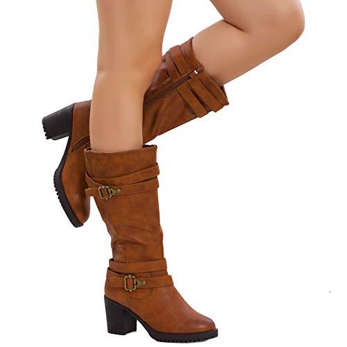 Stivaletti Eco Polpaccio G516 Donna Stivali Tacco Scarpe Al Comodo Toocool Fibbie Pelle Camel wq6OIt