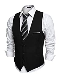 Coofandy Men's Slim Fit Button Down Suit Vests Sleeveless Jacket Waistcoat