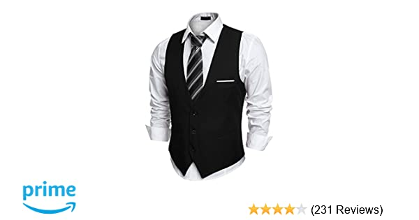 COOFANDY Mens V-Neck Sleeveless Slim Fit Jacket Casual Suit Vests